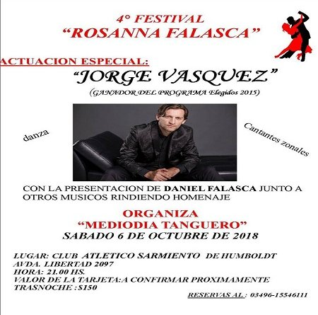 4to Festival Rosanna Falasca 6 de Octubre en Humboldt