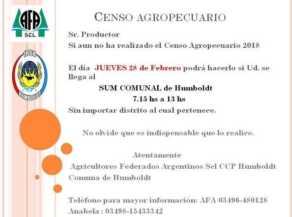 Jueves 28 Febrero Censo Agropecuario en el Sum de  Humboldt