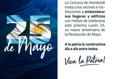 La comuna invita a embanderar hogares y negocios en este 25 de mayo