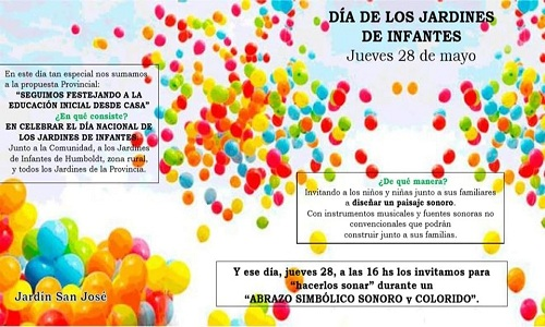 """Colegio San José """"hoy 28 de Mayo Día de los Jardines de Infantes y de la Maestra Jardineras""""."""